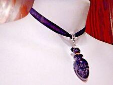 BLACK GLASS SKULL VIAL CHOKER velvet jar bottle gothic halloween necklace new F4