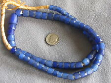 "22"" Str Antique Glass African Trade Beads Russian Blues 16x12mm-7x6mm"