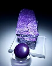 ***2 PIECES-Purple Suglite crystal & Polished Cabochon, mine South Africa***