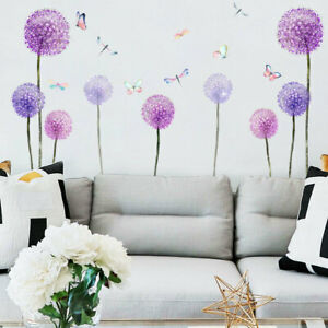 Purple Dandelion Butterfly Wall Stickers Living Room Bedroom Background Decals