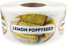 Lemon Poppyseed Grocery Food Stickers, 1.25 x 2 Inches, 500 Labels on a Roll