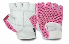 Ladies Womens Gym Genuine White Leather Palm Mesh Knit Comfort Gloves UK PP!