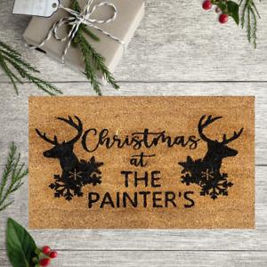 Christmas Personalised Coir Door Mat / Custom Gift Floor Rug Family Free Post