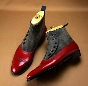 Handmade Two tone Button boots, Men Red and gray ankle boots, Men dress boots