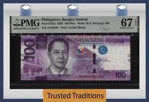 TT PK 225a 2020 PHILIPPINES 100 PISO PMG 67 EPQ SUPERB GEM UNCIRCULATED