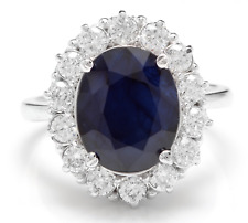8.65Ct Natural Blue Sapphire & Diamond 14K White Solid Gold Ring