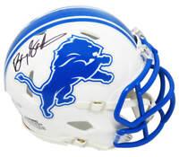 Barry Sanders Signed Detroit Lions Flat White Riddell Speed Mini Helmet - SS