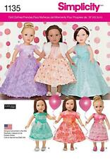 """SIMPLICITY SEWING PATTERN Formal PARTY 6 VARIATIONS Dresses for 18"""" Dolls 1135"""