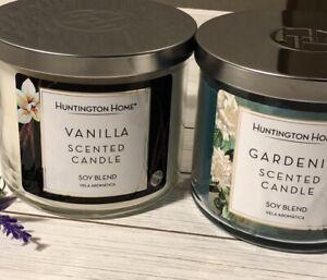 ALDI HUNTINGTON HOME VANILLA + GARDENIA SCENTED CANDLES SOY BLEND 3 WICK