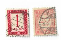 Netherlands postage due stamps x 2,  20c & 1 Gulden, off paper, used