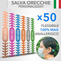 50 Fascette Salva Orecchie per Mascherina PERSONALIZZATI con il tuoLOGO-100%Mais