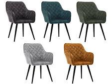 Esszimmerstuhl Polsterstuhl Armstuhl Samt Vintage Design Sessel Metallbeine