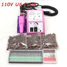 "110V Electric Nail Drill Machine 300pcs 80""120""180"" Sanding Bands 30x Drill Bits"
