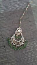 Tika Indian jewellery Tikka Headpiece Gold jade Green beads