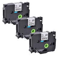 3x SchwarzWeiß Etiketten 18mm Kompatibel mit Brother TZ241 TZ 241 PT-D450 3/4''