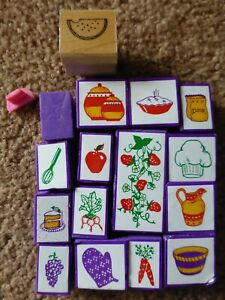 17 Rubber Stamps FOOD Cooking Baking