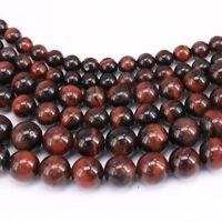 "15"" Natural Red Tiger Eye Gemstone Round Loose Beads Jewelry Finding 4-10mm DIY"