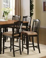 SET OF 2 KITCHEN COUNTER HEIGHT CHAIRS WITH MICROFIBER UPHOLSTERED IN BLACK