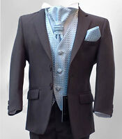 Boys Dark Grey Wedding Suits Pageboy Grey Ivory Gold Communion Prom Suit 5 Piece