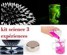 kit tour de magie fluorescéine + ferrofluide + aimant neodyme + sable magique