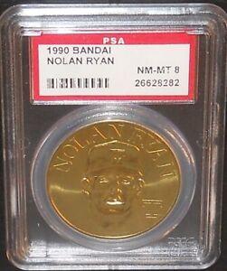 PSA 8 NM-MT 8 - Nolan Ryan Texas Rangers 1990 Bandai Brass Baseball Coin