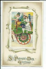 Postcard Holiday St. Patrick's Day Man & Woman on Cart Silk Insert