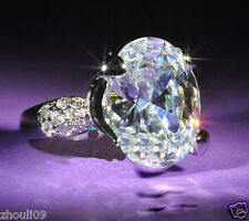 925 Silver Filled White Sapphire Size 10 Birthstone Wedding Gemstone Ring 358
