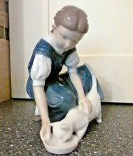 VINTAGE ROYAL COPENHAGEN B&G #1745 FIGURE GIRL FEEDING CAT