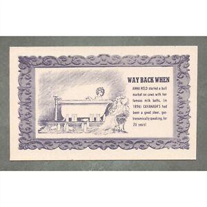 Vintage c. 1948 Postcard: Way Back When Anna Held Cavanagh's Restaurant Ad