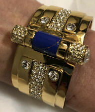 Wide Crystalled Cuff bracelet  with blue veined stone by Rachel Zoe