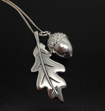 oak leaf & Acorn necklace Solid Sterling Silver Adjustable chain, new. Gift Box