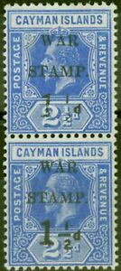 Cayman Islands 1917 1 1/2d on 2 1/2d Dp Blue SG54a No Fraction Bar in Pair wi...