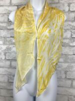 """Vintage Cacharel Silk Oblong Scarf Delicate Yellow and White Floral Hair 60x8"""""""