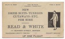 Early Men's Fashion Business Card READ & WHITE Boston~For Hire Tuxedo Shop~c1930