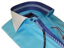 Men Axxess Egyptian Cotton wrinkle resistant Shirt Spread Collar 518-03 Teal