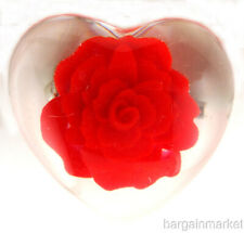 Heart Love Brooch Pin Mother's Day Red Rose Lucite