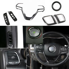 6pcs ABS Carbon Fiber Interior Trim Cover For Jeep Grand Cherokee 2014-2018