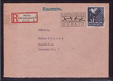 Berlin 20 auf R- Brief LUFTBRÜCKE BERLIN Schwarzdruck 5 M. Attest (21561)