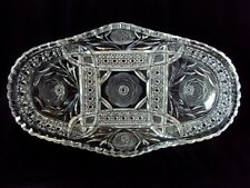 Vintage 70's Lead Crystal Cut Glass Oval Relish Serving Dish Plate Tray