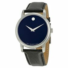 Movado Museum Navy Blue Dial Black Leather Strap Men's Swiss Watch 2100007