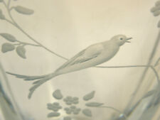 """MCM STROMBERGSHYTTAN STROMBERG SWEDISH ART GLASS VASE ETCHED ENGRAVED BIRD 9"""""""