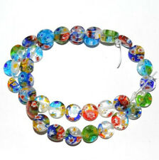 50X Wholesale Charms Flat Shape Millefiori Glass Loose Spacer Beads Finding 6mm