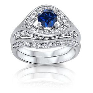 Brilliant Evil Eye Blue Sapphire Engagement Wedding Sterling Silver Ring Set