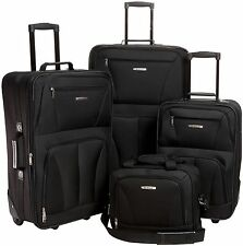 "Rockland 4 Piece Black Luggage Set F32-BLACK luggage 18"" x 11"" x 28"" NEW"