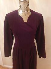 LAURA ASHLEY Vintage Needle Cord Prairie Dress Sz 12 10 Purple Puff Riding Cord