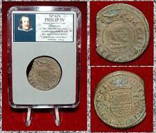 Coin King Spain PHILIP IV 1621-1665 Coat Of Arms Crown On Reverse Pirates Money