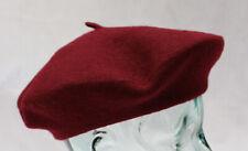 100% lana pura Borgoña Boina Unisex Ideal para hombres y mujeres