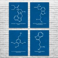 Psychedelic Molecules Posters Set of 4 Acid Art Print Stoner Gift Lsd Art