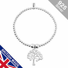 Trink Tree of Life Sterling Silver Beaded Charm Bracelet Stretch Elastic