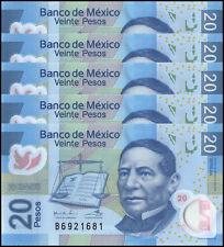 Mexico 20 Pesos X 5 Pieces - PCS, 2016,P-122,UNC,Series-AA,Polymer,Benito Juarez